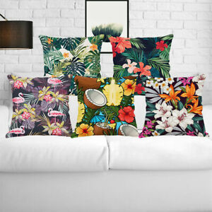 Floral Tropical Home Decor Cotton Linen Pillow Case Waist Throw Cushion Cover