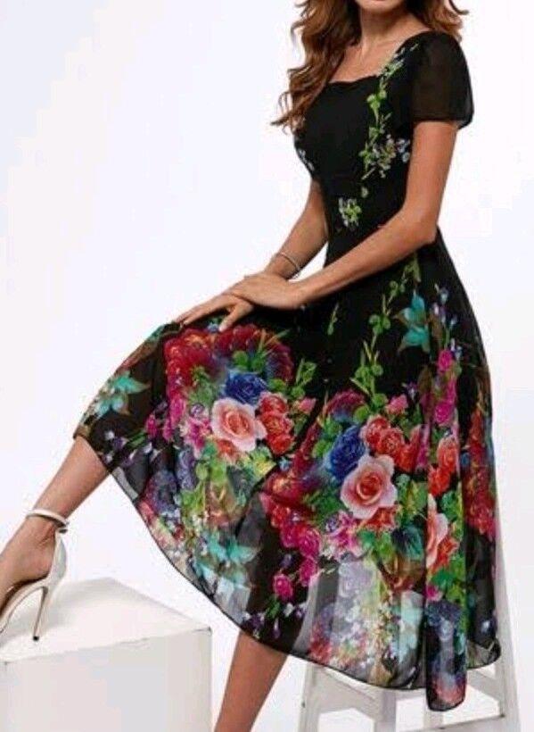 Damen Kleid Strandkleid Abendkleid  Kleider Blaumen Sommerkleid gr M