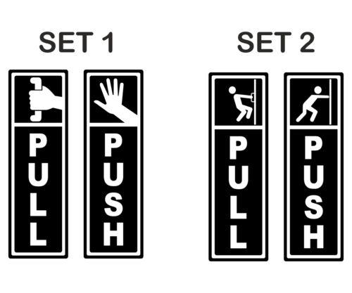 2 option Door Window Vinyl Decal Information Warning Sticker Push Pull signs