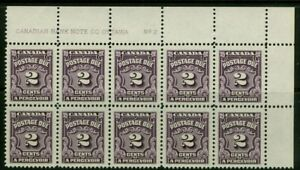 CANADA, 2c postage due UR plate #2 block, VF / MNH, from 1935-65 set, J16