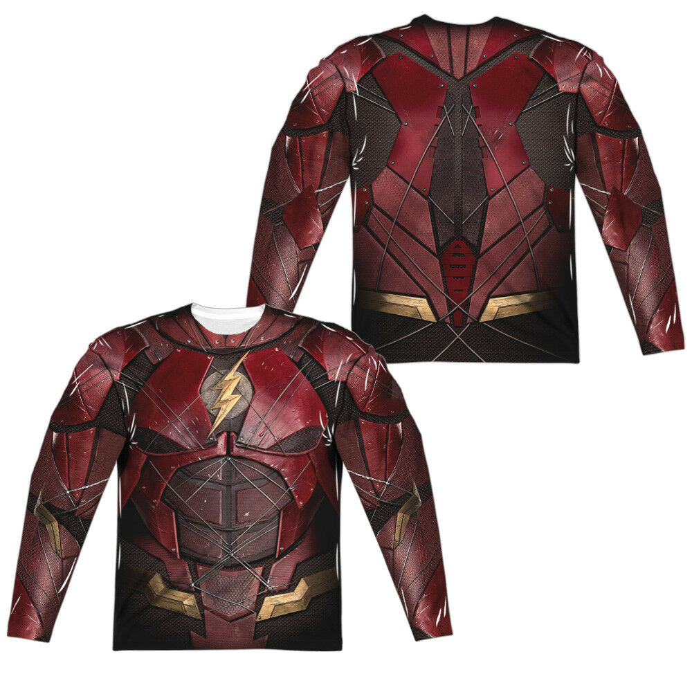 JUSTICE LEAGUE MOVIE FLASH COSTUME Adult Men's Long Sleeve Tee Shirt SM-3XL