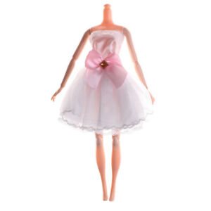 Handmade-White-Beautiful-Doll-Dress-For-Doll-Party-Wedding-Clothing-BDAU