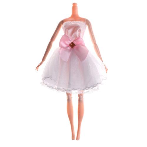 Handmade White Beautiful Doll Dress For  Doll Party Wedding Clothing v!EC