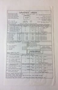 DAWSON'S CREEK set used CALL SHEET ~ Season 5, Episode 14
