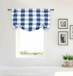 Image Is Loading Blue White Tie Up Window Curtain Buffalo Check