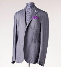 NWT $795 L.B.M. 1911 Navy Blue Herringbone Soft Cotton Blazer 48/38 R Sport Coat