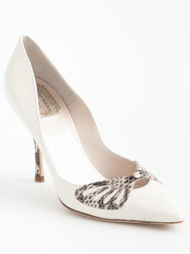 NEW Christian Dior Butterfly non-Straight White Leather Pumps Size 39 US 9