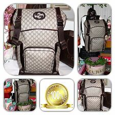 CHIC-GUCCI INTERLOCK BROWN SUPREME GG MONOGRAM X-LG TRAVEL BACKPACK!