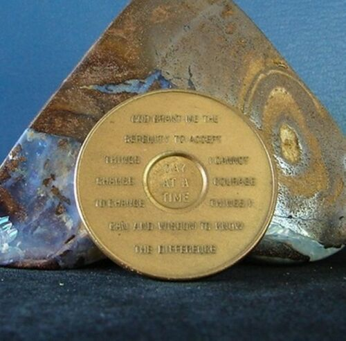 15 Year Alcoholics Anonymous AA Bronze Medallion ODAT Back Coin Chip TOKEN