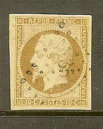 FRANCE-STAMP-TIMBRE-N-9-034-NAPOLEON-10c-BISTRE-JAUNE-1852-034-OBLITERE-TTB-SIGNE