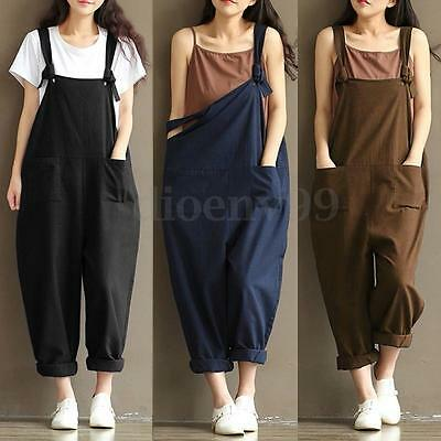 S-3XL Zanzea Summer Women Overalls Baggy Long Trousers Jumpsuit Oversized Pants