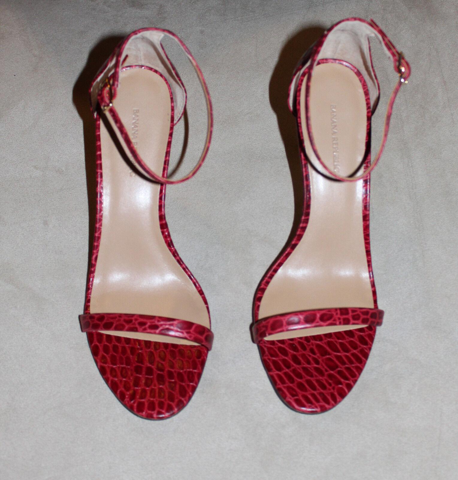 ROT Snakeskin BANANA REPUBLIC Strappy Pump High Heel Schuhes Sandales 6 9