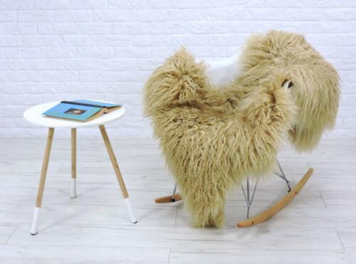 Véritable Islandais Peau De Mouton Tapis Cheveux Bouclés Beige Couleur Mongol Style #B01