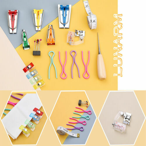Upgrade Fabric Bias Tape Maker Kit Binding Foot For DIY Sewing Quilting With Box