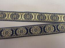 "1"" Wide Blue and Metallic  Gold Design Woven Jacquard Ribbon Trim - 1  yard"