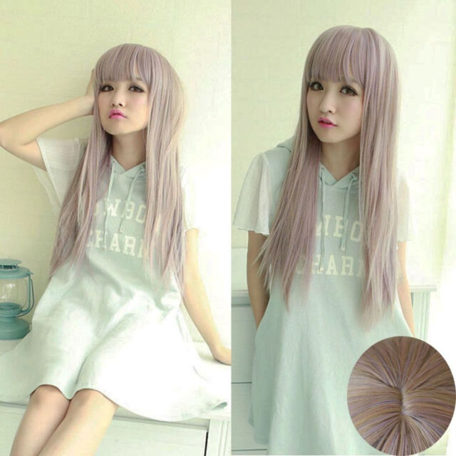 "26""Long Harajuku Wig Anime Style Lady Women Cosplay Straight Fashion Full Wigs"