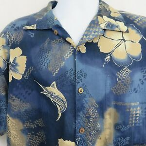 Blue-Marlin-Fish-Floral-Mens-L-Cotton-Blend-Aloha-Hawaiian-Shirt-Bluewater-Wear