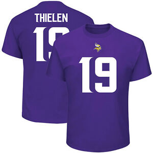 free shipping 0385d 7ff15 Details about Adam Thielen Minnesota Vikings #19 Majestic NFL T-Shirt  Purple Jersey