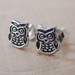 Details About Tiny Owl Earrings 925 Sterling Silver Wise Owls Stud Hoot Post Bird Gift New