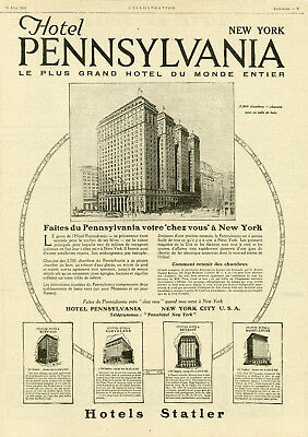 """hotel Pennsylvania New York"" Annonce Originale Entoilée L'illustration 1921"
