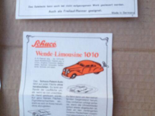 5 x Schuco Bedienungsanleitung Oldtimer Akustico Grand Prix 1010 Wende Auto