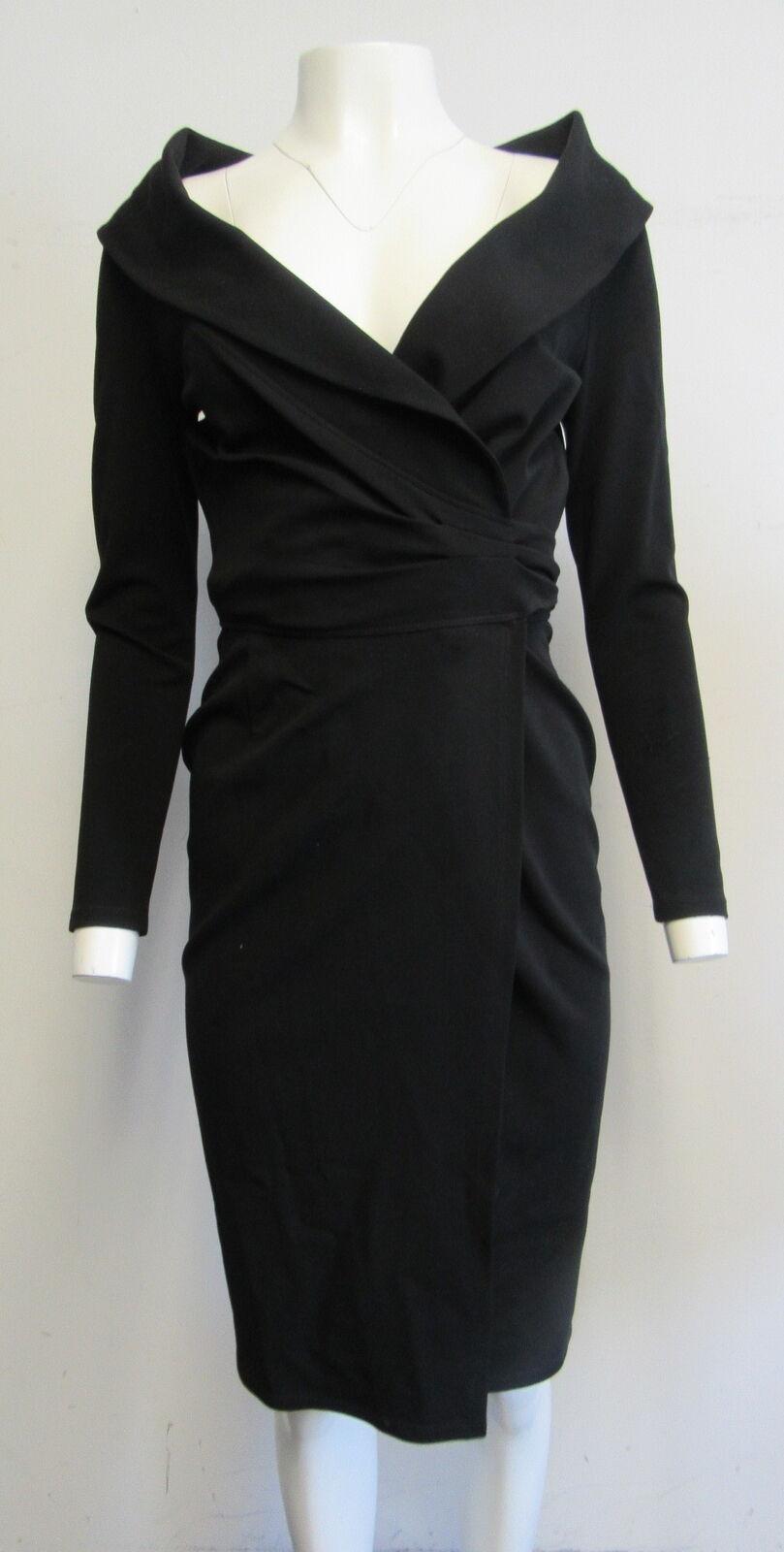 LAFAYETTE 148 schwarz stretch straight wrap dress with overGrößed collar sz 2
