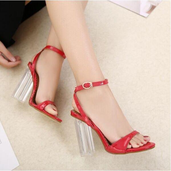 Sandalias de de de mujer elegantes talón cuadrado 12 rojo transparente cómodo CW335  Envío 100% gratuito