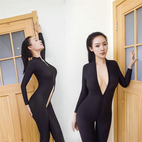 Jumpsuit Women Bodysuit Long Sleeve Striped Leopard Clubwear Zipper Catsuit