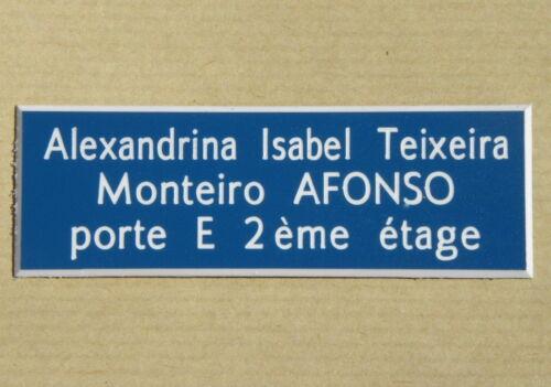 plaque boite aux lettre porte personnalisée 3 lignes SONNETTE SIGNALETIQUE
