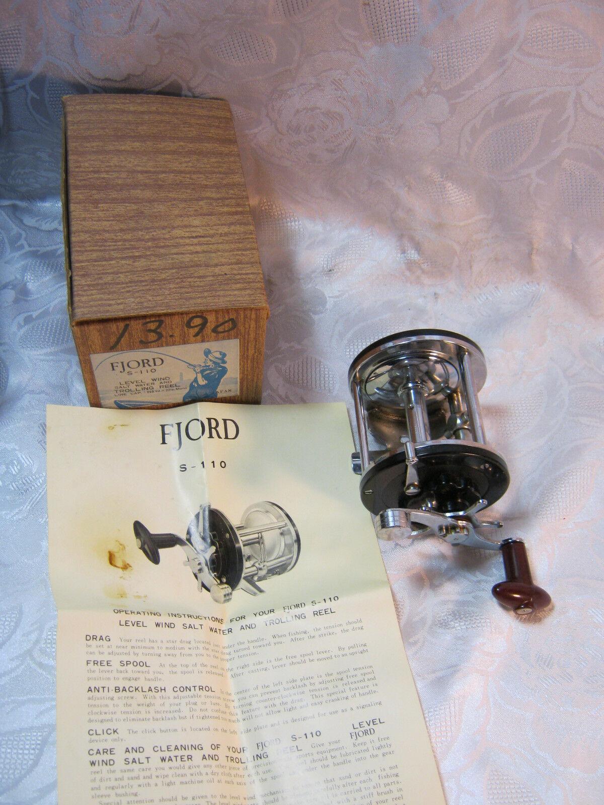 Fjord S 110 Vintage Fishing Reel Japan with Box  Clean  Salt Water  Fresh Water