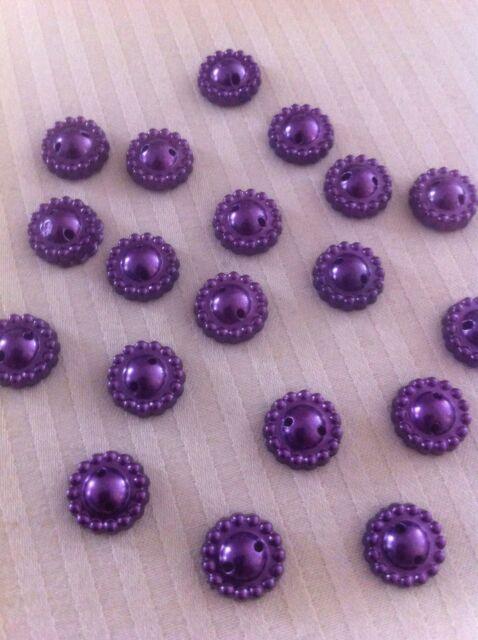 Pearl Bead Flower Deep Amethyst Pansy Purple Flatback 9mm Embroidery Button x 20