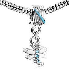 Pugster European charm bead- silver dragonfly dangle with aquamarine crystals