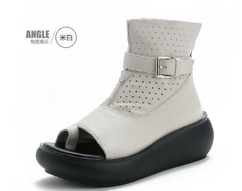 Cuña Hebilla De Plataforma Para Mujer Enrojoadera Anillo del dedo del pie calado Cremallera Zapatos Sandalias Romanas