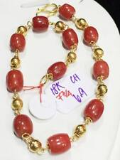 SOLID 18K Chinese Gold Red Coral Bracelet - 7 3/4 inches 6.9 g