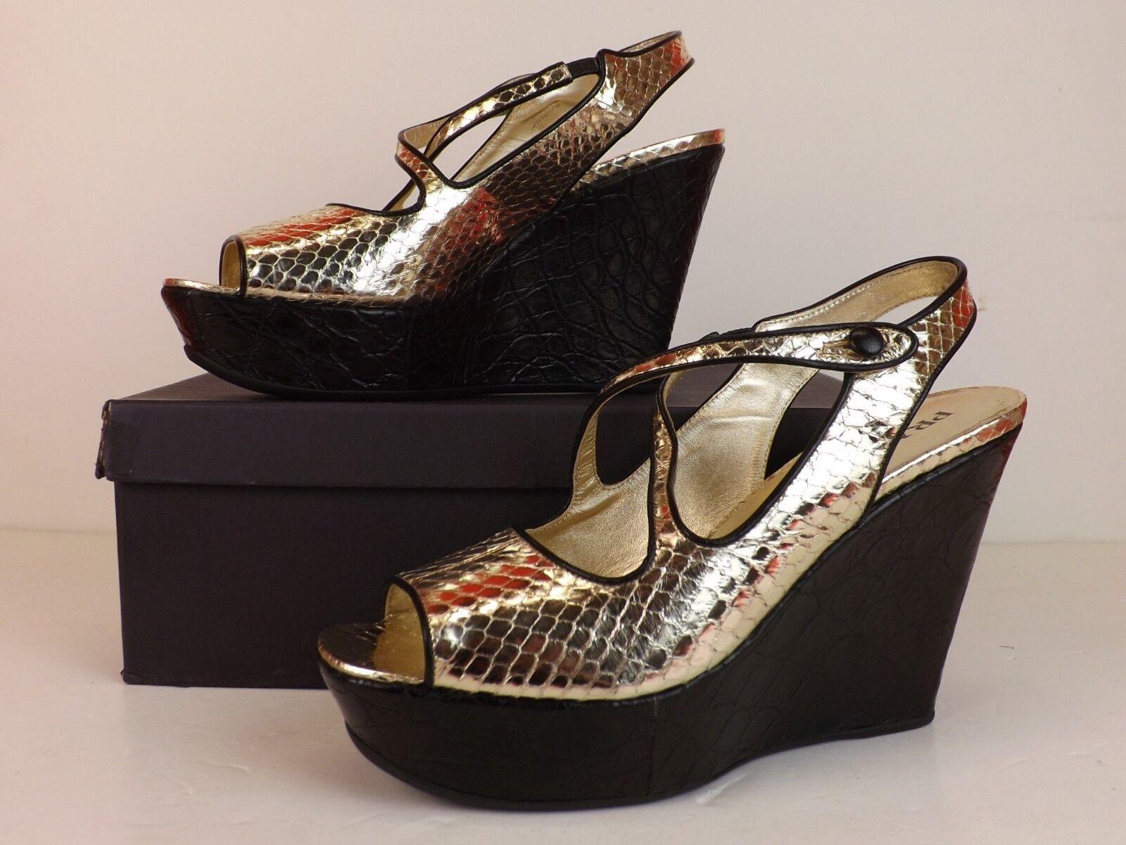Nuevo En Caja Prada Prada Prada Lite oro Serpiente Diseño De Cuero Negro Tacón Con Plataforma Sandalias De Plataforma 39.5  elige tu favorito