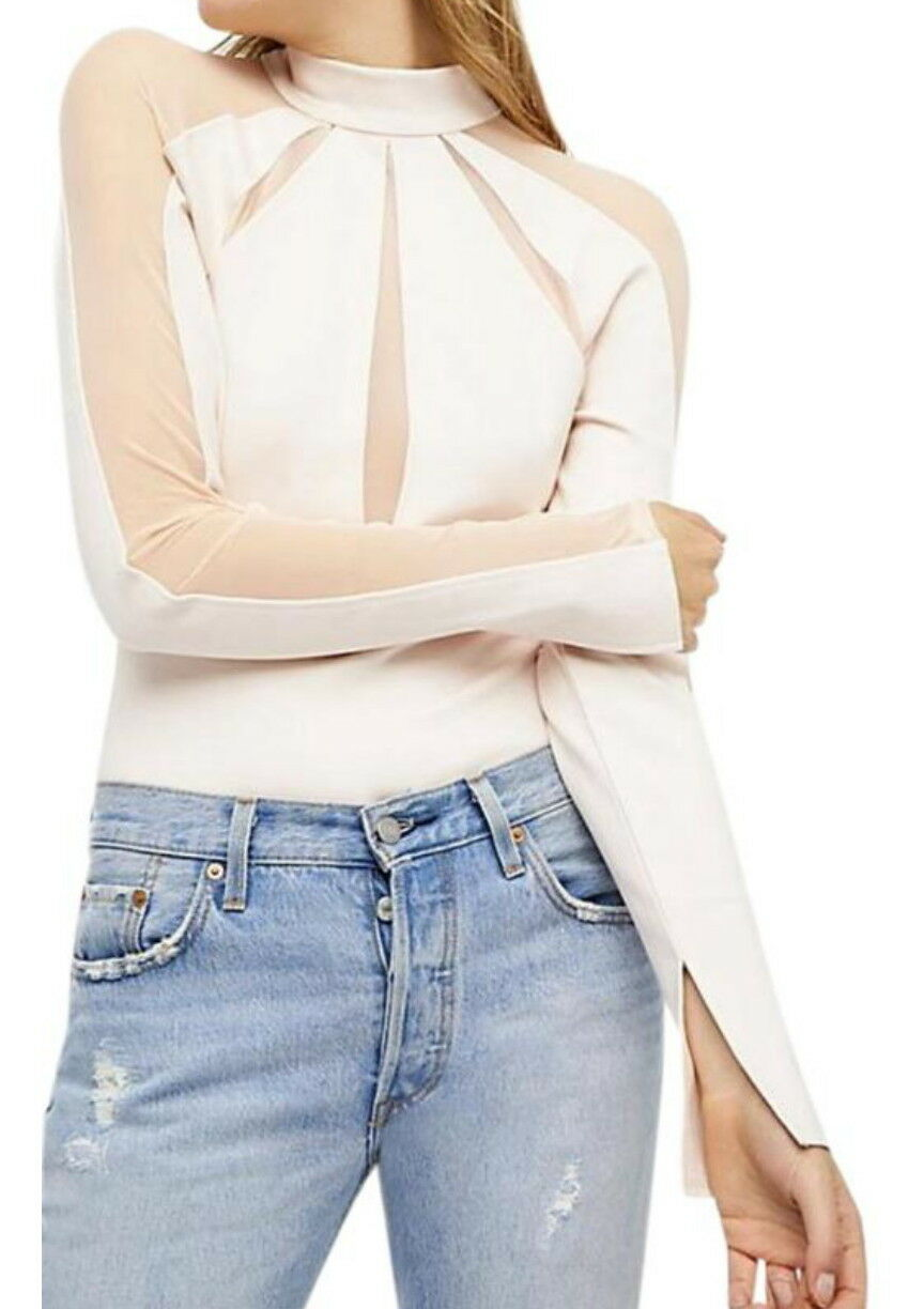Free People Mesh Interrupted Top Medium 6 8 Ivory Slit Cuffs Exposed Back Zip