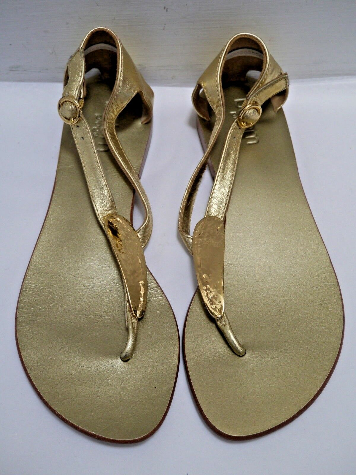 BO'EM PLAGE gold leather and metal thong flat sandals size 39