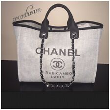 New Chanel 2016 Top Grey Deauville Shopping Tote Dress Bag Classic Jumbo Bag