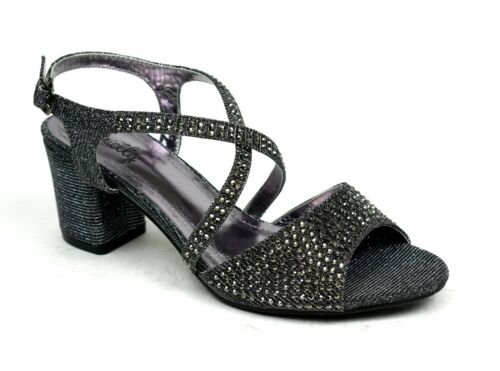 New Party Dressy Stone Open Toe Pin Buckle Block Heel Sandals UK Size 3-8
