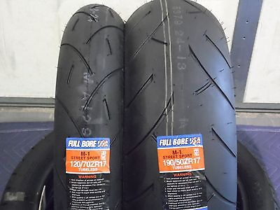 TWO TIRE SET 120/70ZR17 & 190/50ZR17 FULL BORE USA SPORT BIKE MOTORCYCLE TIRES