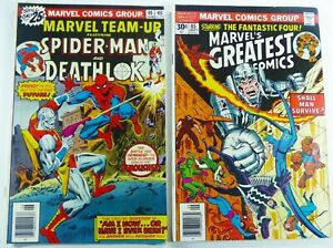 MARVEL-TEAM-UP-1976-46-Spider-Man-GREATEST-COMICS-65-Lot-FN-VF-Ships-FREE