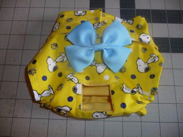 Yellow Snoopy Dog Female Diaper Panty Exchangable Bow ...
