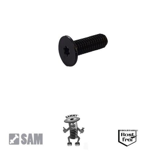 10 SCHWARZE Sammy® Schrauben M4X8 Flachkopf,sehr niedrig Torx Edelstahl SCHWARZ