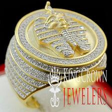Real Sterling Silver Egyptian Pharaoh King Tut Mens Lab Diamond Pinky Ring Band