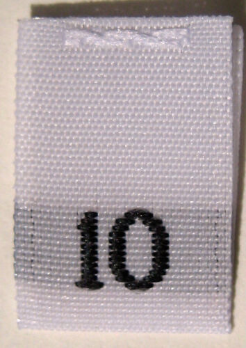 50 pcs WOVEN WHITE CLOTHING SEWING LABEL SIZE TAG TEN SIZE 10