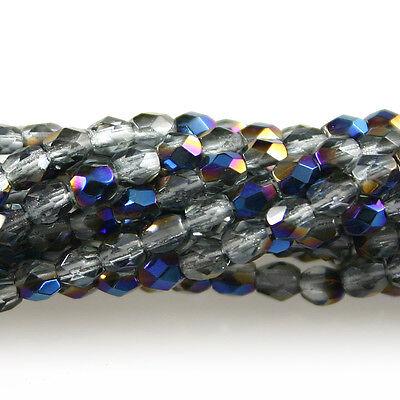 Light Sapphire Blue AB Matte 50 3mm Round Czech Glass Fire Polish Beads