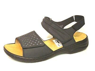 Rieker Schuhe Sandalen Sandaletten bequem blau Leder GdEWZ