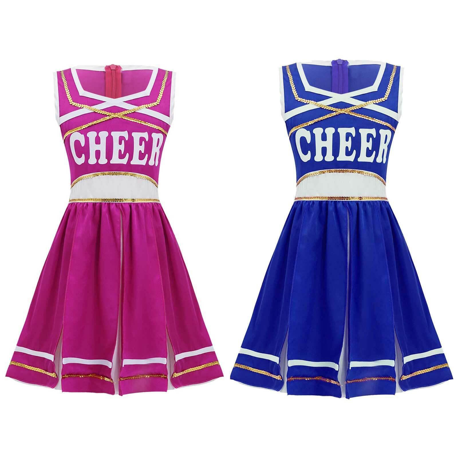Kid Girls Cheerleading Dance Dress Letter Print Pleated Dress Athletic Dancewear
