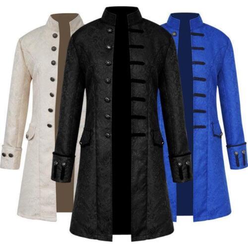Halloween Steampunk Retro Trench Coat Gothic Jacket Medieval Men Costume S-3XL