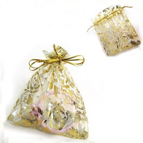 50//100Pcs Rose/&Gold Organza Jewelry Packing Pouch Wedding Favor Gift Bag 9x7CM